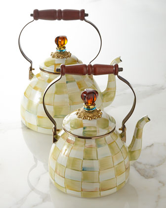 Parchment Check Tea Kettle