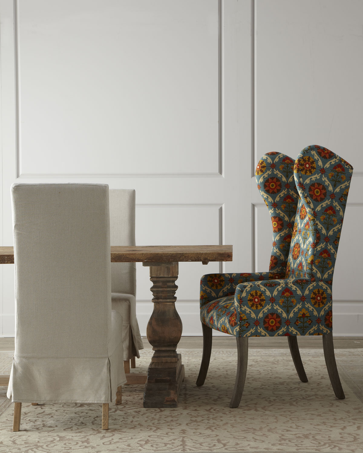 Natural dining table upholstered dining chairs matching items neiman marcus