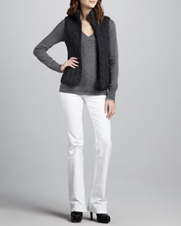 Burberry Brit Down-Fill Cable Vest, Check-Cuff Cashmere Sweater & Power-Stretch Boot-Cut Jeans
