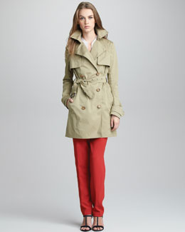 Vince Short Twill Trenchcoat, Half-Sleeve Half-Placket Top & Straight-Leg Crepe Trousers