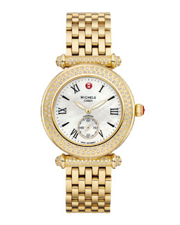 Michele Gold Caber Pave Diamond Watch Head & Bracelet Strap