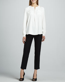 Lafayette 148 New York Samantha Silk Caftan Blouse & Jodhpur Cropped Pants