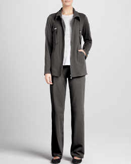Eileen Fisher Striped Long-Sleeve Linen Top, Organic Drawstring Jacket & Pants, Petite