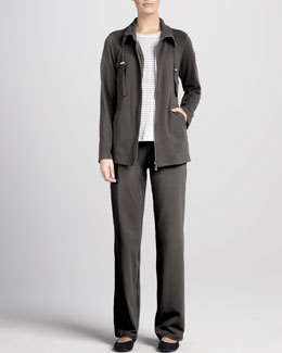 Eileen Fisher Striped Long-Sleeve Linen Top, Organic Drawstring Jacket & Pants, Women's