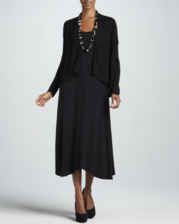 Eileen Fisher Boxy Linear Cardigan & Sleeveless Jersey Dress, Petite