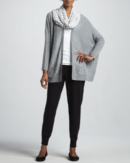 Eileen Fisher Speckled Origami Cardigan, Tank, Striped Parallelogram Scarf & French Terry Ankle Pants, Petite