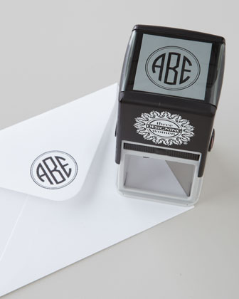 Three-Initial Circle Monogram Stamper & Ink