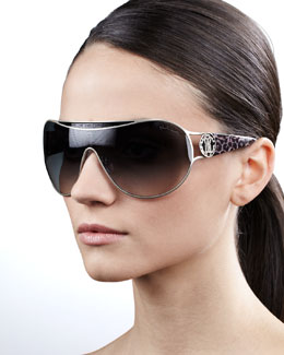 Roberto Cavalli Metal-Framed Shield Sunglasses