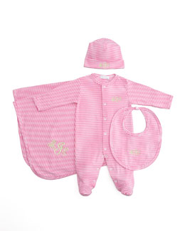 Kissy Kissy Striped Footie, Hat, Bib, Fuchsia