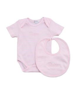 Kissy Kissy Striped Bodysuit & Bib, Light Pink