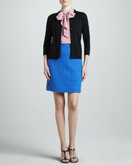 kate spade new york sofia cotton-silk cardigan, lillian sleeveless blouse & anita tweed skirt