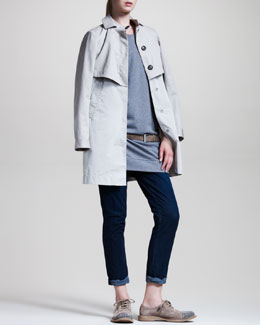 Brunello Cucinelli A-Line Jacket, Ruffle-Trim Sweatshirt Dress, Laser-Cut Leather Belt & Denim Leggings