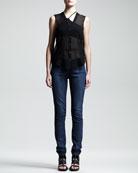 Ghost Silk Top, Asymmetric Jersey Bra & Faded Skinny Jeans