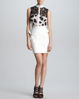 Jason Wu Sleeveless Floral Combo Shirt & Leather Peplum Skirt