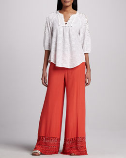 XCVI Capitola Embroidered Voile Tunic & Noe Valley Crepe Pants, Women's