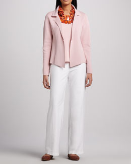 Eileen Fisher Interlock One-Button Jacket, Jersey Tank & Modern Wide-Leg Pants, Women's