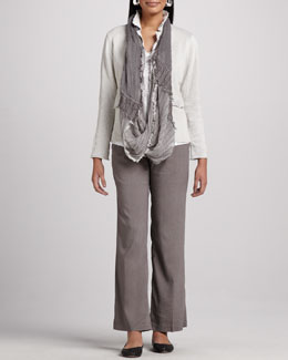 Eileen Fisher Cotton Metallic Jacket, Linen Shimmer Tee, Linen-Blend Trousers & Infinity Scarf, Women's