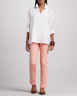 Eileen Fisher Linen Boxy Shirt, Organic-Cotton Tank & Classic Straight-Leg Jeans, Women's