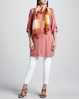 Eileen Fisher Slim Ankle Pants, Tunic/Dress & Silk Shibori Scarf, Women's