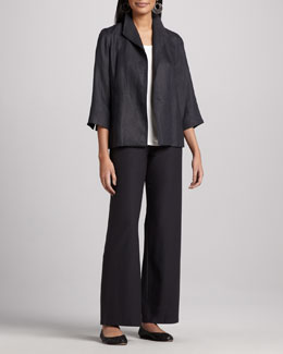 Eileen Fisher Linen Basket Jacket, Silk Jersey Tank, Washable-Crepe Wide-Leg Pants & Infinity Scarf