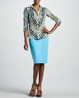 Lafayette 148 New York Prism Print Shirt & Hildy Metropolitan Stretch Skirt