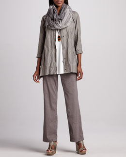 Eileen Fisher Hooded A-line Jacket, Silk Jersey Tunic, Infinity Scarf & Linen-Blend Trousers