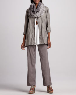 Eileen Fisher Hooded A-line Jacket, Silk Jersey Tunic, Infinity Scarf & Linen-Blend Trousers, Women's