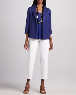 Eileen Fisher Linen Basketweave Jacket, Silk Jersey Tank & Slim Twill Ankle Pants