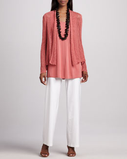 Eileen Fisher Linen Flutter Cardigan, Silk Jersey Tunic & Wide-Leg Pants, Women's