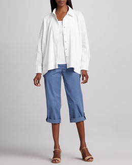 Eileen Fisher Classic Stretch-Linen Shirt & Cuffed Twill Capri Pants, Women's