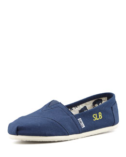 TOMS Monogrammed Classic Canvas Slip On, Navy