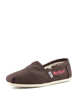 TOMS Monogrammed Classic Canvas Slip On, Brown