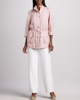 Neiman Marcus Linen Drawstring Jacket & Long Linen Pants