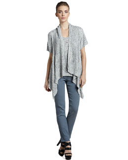 Donna Karan Drape-Front Silk Cardigan, V-Neck Silk Camisole & Side-Zip Ankle Pants