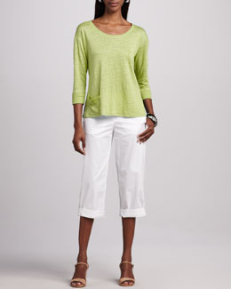 Eileen Fisher Linen Jersey Top & Cuffed Twill Capri Pants, Petite