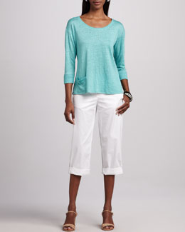Eileen Fisher Linen Jersey Top & Cuffed Twill Capri Pants, Women's