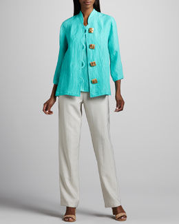 Caroline Rose Wave-Rib Shirt, Long Tank & Cabo Straight-Leg Pants, Petite