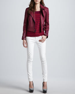 Burberry Brit Leather Biker Jacket, Short-Sleeve Striped Tee & Skinny Jeans