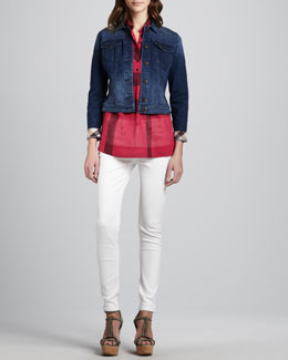 Burberry Brit Check-Cuff Denim Jacket, Collared Check Short-Sleeve Blouse & Skinny Back-Seam Jeans