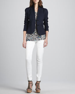Burberry Brit Linen-Cotton Two-Button Blazer, Dotted Modal Tee & Skinny Back-Seam Jeans