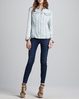 Burberry Brit Chambray Western Shirt & Faded Skinny Jeans