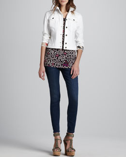 Burberry Brit Check-Cuff Cropped Denim Jacket, Dotted Modal Tank & Faded Skinny Jeans
