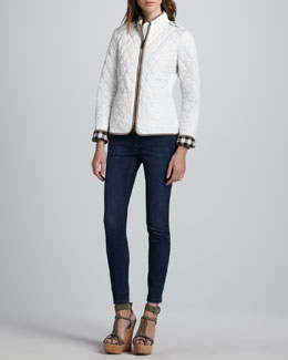 Burberry Brit Check-Cuff Quilted Jacket & Faded Skinny Jeans