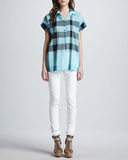 Burberry Brit Check Short-Sleeve Shirt & Skinny Back-Seam Jeans