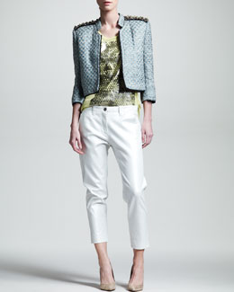 Kelly Wearstler Hydra Cropped Tweed Jacket, Cyclone Graphic Tank & Spyglass Cropped Twill Pants