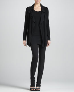 Donna Karan Flutter-Front Cardigan Jacket, Scoop-Neck Tank & Slim Straight-Leg Pants