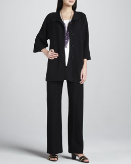 Eileen Fisher Stand Collar Jacket, Silk Jersey Tee & Slim Boot-Cut Pants