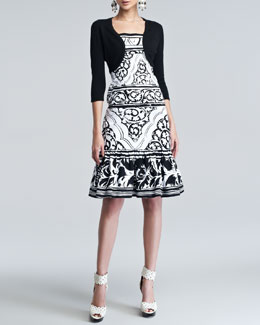 Oscar de la Renta Cashmere-Silk Shrug & Sketched Baroque-Print Twill Dress