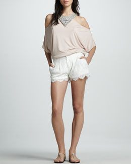 Haute Hippie Embellished Cold-Shoulder Top & Pleated Lace Shorts