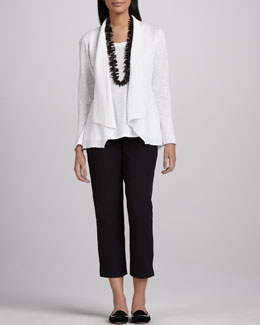 Eileen Fisher Open Slub Cardigan, Long Jersey Tank & Slim Twill Ankle Pants